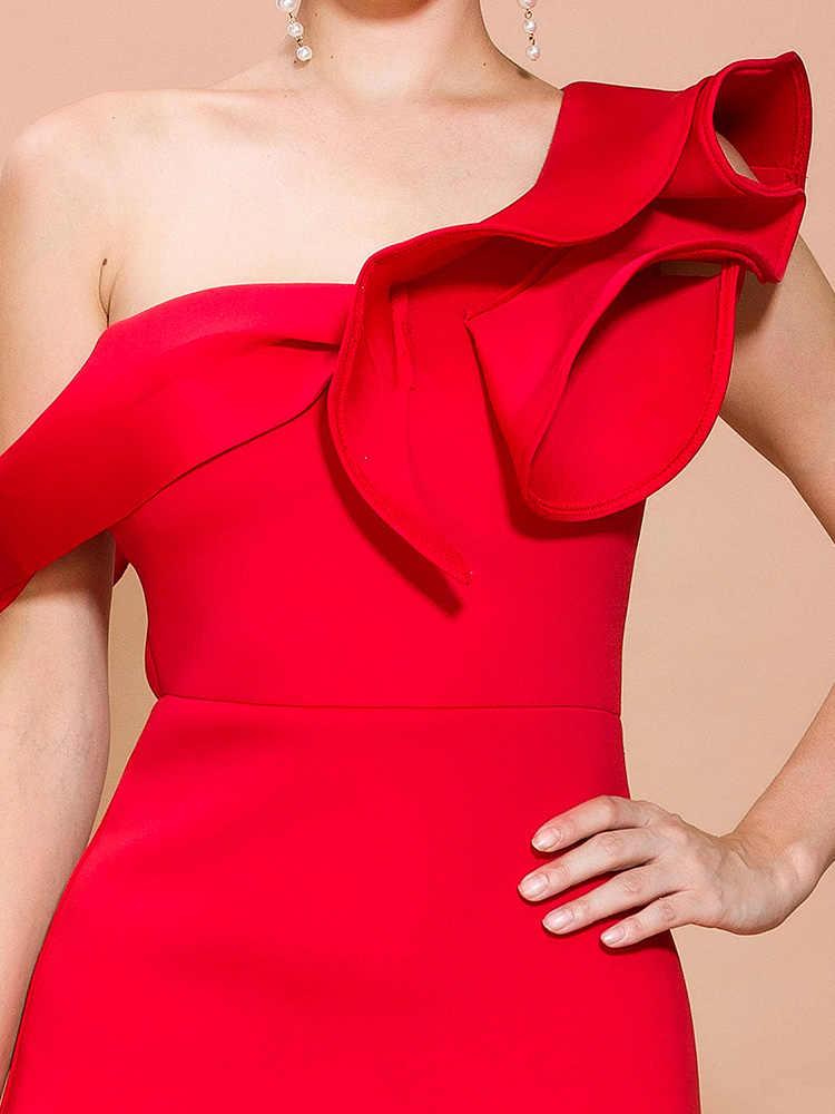 Missord 2020 נשים סקסי סדיר צוואר כבוי כתף ראפלס מוצק צבע אלגנטי מקסי שמלת FT19938