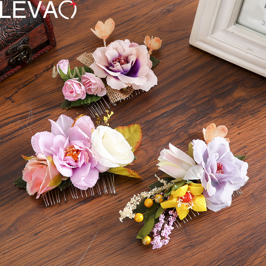 Levao 2020 New Women Hair Clip  Elegant Plastic Flower With Leaf Hairpins Hair Accesiores For Photography And Vacation