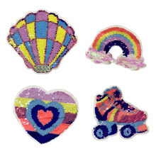 Rainbow Love Heart Roller Skates Sew on Patch for Clothing Kids 3D DIY Shell Change Color Applique Decoration Apparel(China)