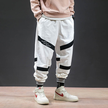 Mens leggings pants with japanese anime print joggers sweatpants for fall fashion drawstring sport streetwear hip hop harem pant