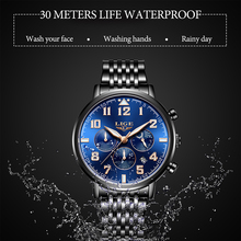 LIGE Mens Watches Top Brand Luxury Stainless Steel Waterproof Watch Men Military Sport Watch Hollow Clock Quartz Wristwatch+Box chenxi top brand men steel military watches luxury mens quartz watch men s decoration clock wristwatch waterproof montres homme