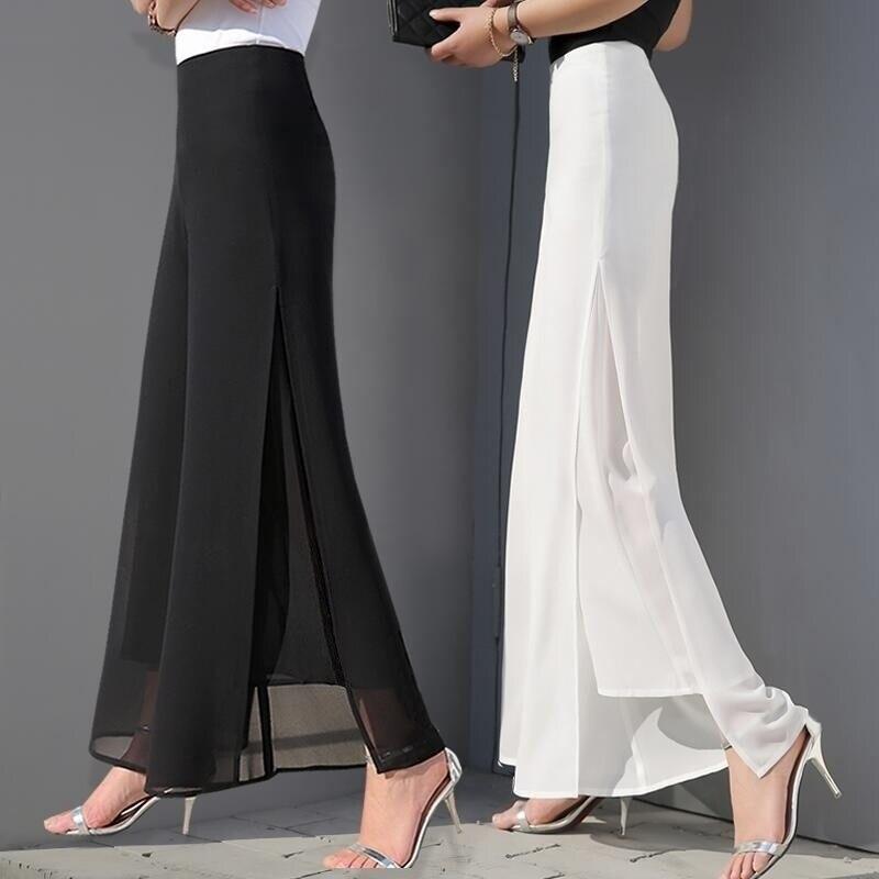 ZOGAA Women Summer Wide Leg Long Trousers Casual Vintage High Waist Chiffon Side Split Loose Bohemia Pants Capris Solid 5 colors