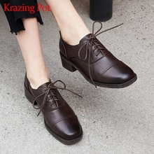 Loafers Women Krazing-Pot Pumps Heel School-Med Fashion Genuine-Leather British Lace-Up