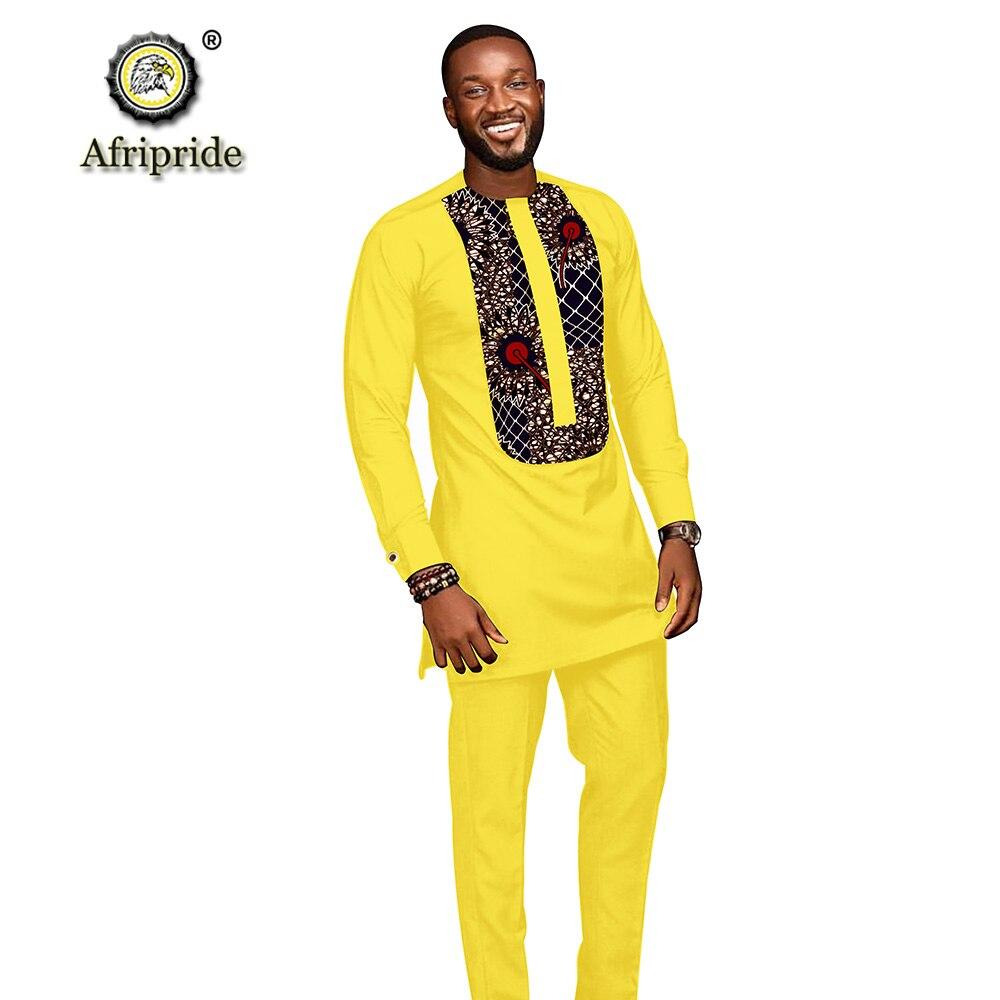 Trajes para hombres africanos 2019 ropa dashiki camisetas con impresión + Pantalones con bolsillos conjunto de 2 piezas blusa atuendo de Ankara AFRIPRIDE S1916005 - 5