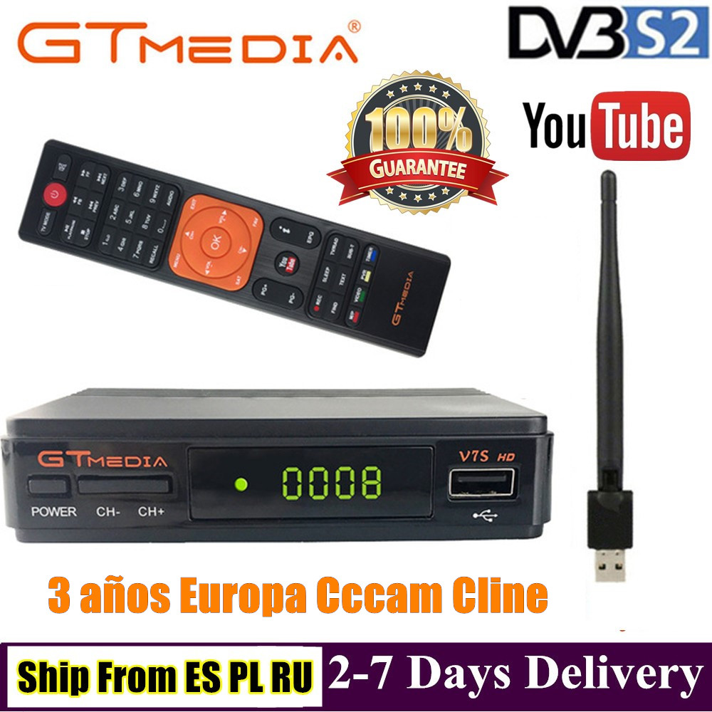 Gtmedia V7S DVB-S2 Satellite TV Receiver With USB WIFI Free Europe Cccam Cline For 3 Years Spain Poland Portugal HD TV Receptor