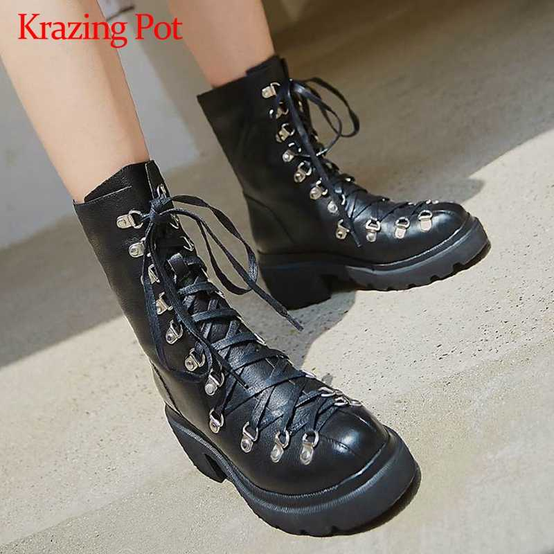 Krazing pot 2019 lace up platform cow leather round toe thick high heels punk design rivets metal fasteners mid-calf boots L63