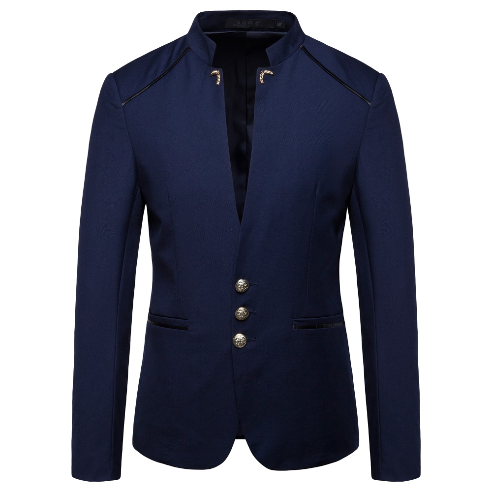 Chinese Style Mandarin Collar Business Casual Wedding Slim Fit Blazer Men Casual Suits Jackets Male Stand Collar Blazer 4XL