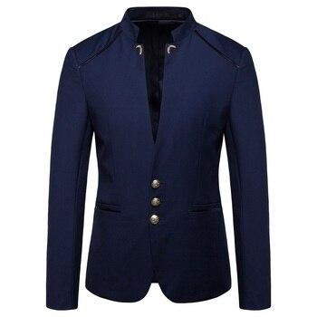 Estilo chino mandarín cuello negocios Casual boda Slim fit Blazer hombres Casual trajes chaquetas hombre Stand Collar Blazer 4XL