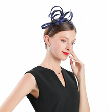 Blue Fascinator Hats For Women Elegant Church Bow Hats Royal Banquet Headdress Jockey Club Prom Tea Party Hair Clips For Girls