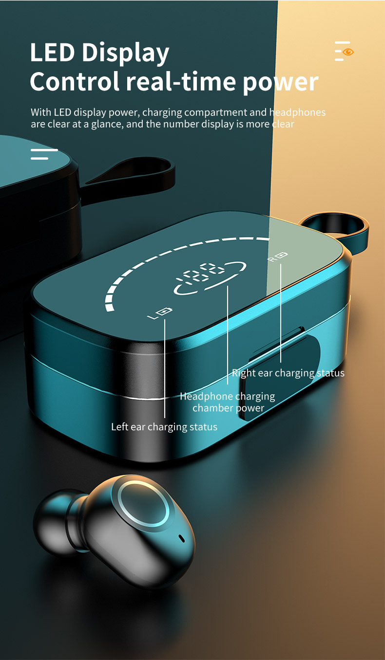 definição espelho de energia display digital fone de ouvido com cordão