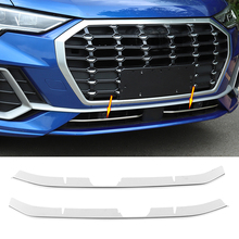 цена на 2pc Car Front Bumper Chrome Grille Cover Trim Molding For Audi Q3 F3 2019 2020 Car Styling Front Bumper Lower Grille Accessories