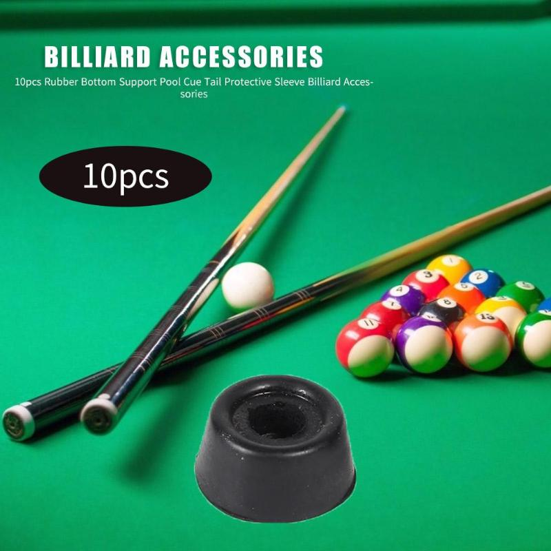10pcs Pool Cue Stick Tail Protective Sleeve Pad Billiard Bar Sticks Rubber Bottom Support Bumpers Snooker Billiard Accessories