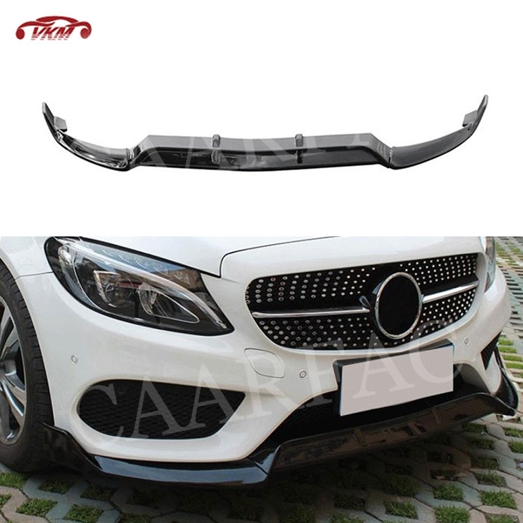 C Class Carbon Fiber / ABS Front Bumper Lip Spoiler for Mercedes Benz <font><b>W205</b></font> C43 AMG C200 <font><b>C300</b></font> not for C63 2014-2018 3PCS image