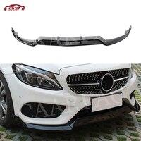 C Class Carbon Fiber / ABS Front Bumper Lip Spoiler for Mercedes Benz W205 C43 AMG C200 C300 not for C63 2014 2018 3PCS