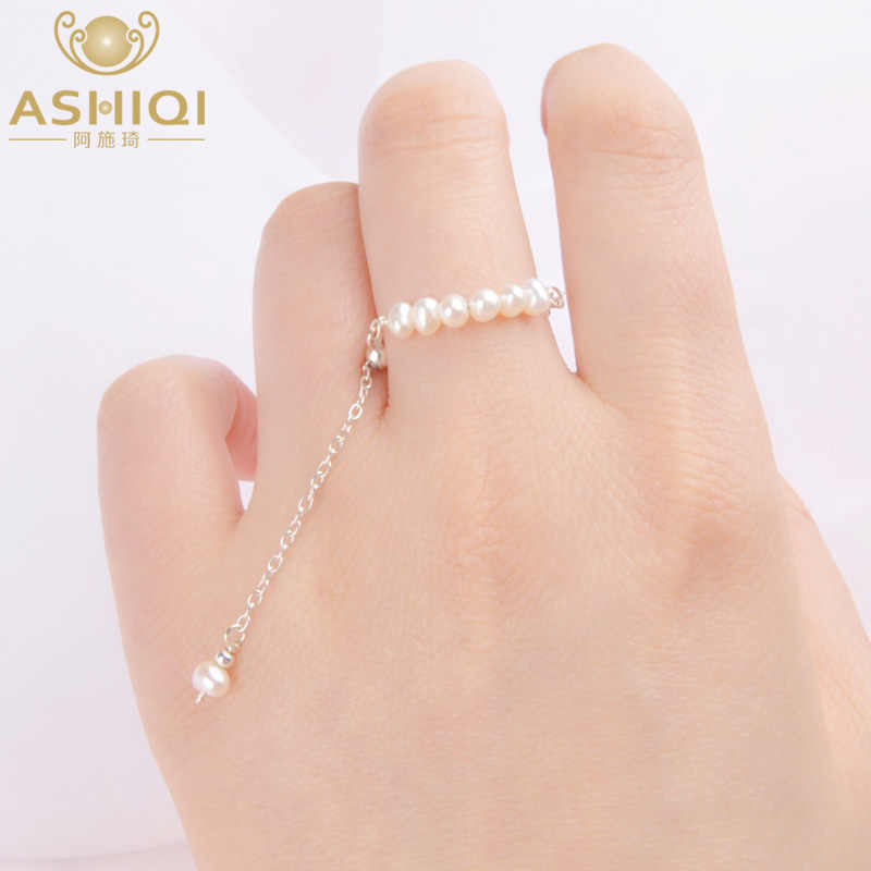 ASHIQI Natural Pearl 100% Real 925 Sterling Silver Tassel Adjustable Ring Women Handmade Freshwater Pearl  Jewelry