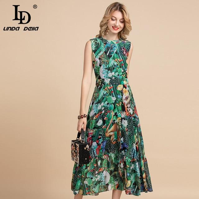 LD LINDA DELLA Elegant Summer Dress Women's Sleeveless High waist Vintage Animal Jungle Floral Print Elegant Midi Holiday Dress 3