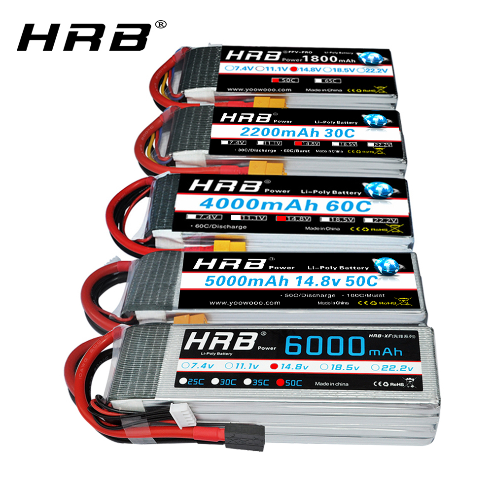 HRB 4S Lipo Battery <font><b>14.8v</b></font> 5000mah 6000mah 4S <font><b>2200mah</b></font> 3300mah 4200amh 12000mah 22000mah RC lipo Dean for rc car drones helicopter image