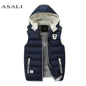 Image 1 - Chaleco polar con capucha para hombre, chaleco grueso y cálido de algodón, chalecos suaves informales para hombre, chaqueta sin mangas a prueba de viento, Parkas, Invierno 2020