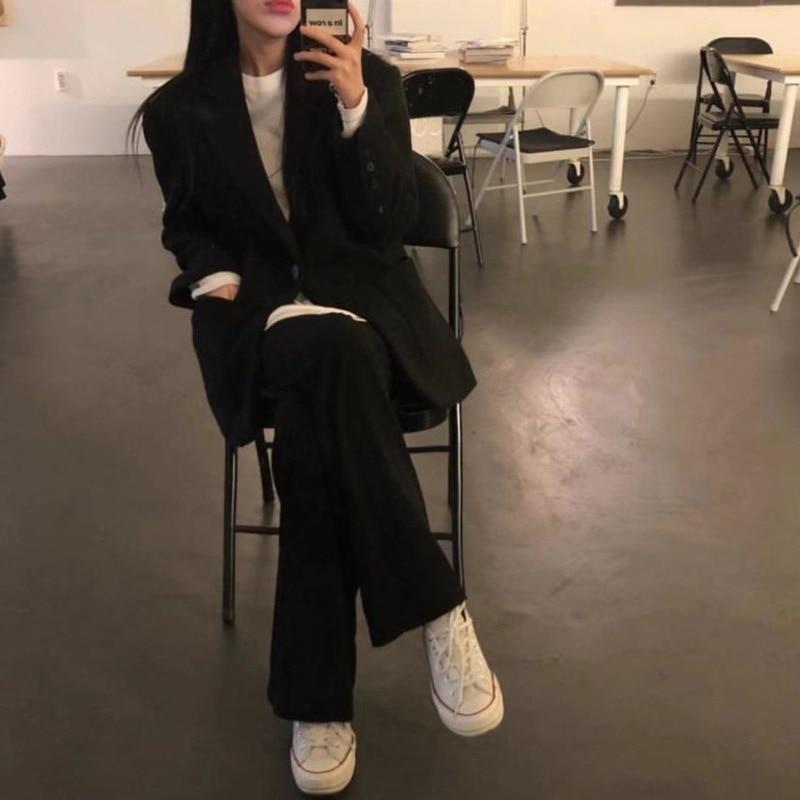 2020 Women Suits High Waist Pant Suits For Women Tailleur Femme Oversized Black Blazer Set Conbinaison Femme Ropa Traje Mujer