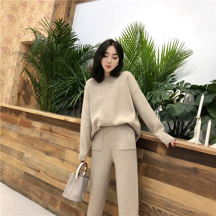 2019 Winter Knitted 2 Pieces Set Tracksuits Women Thick Warm O-neck Loose Sweater+Ankle-Length Pants Warm Cashmere Suit