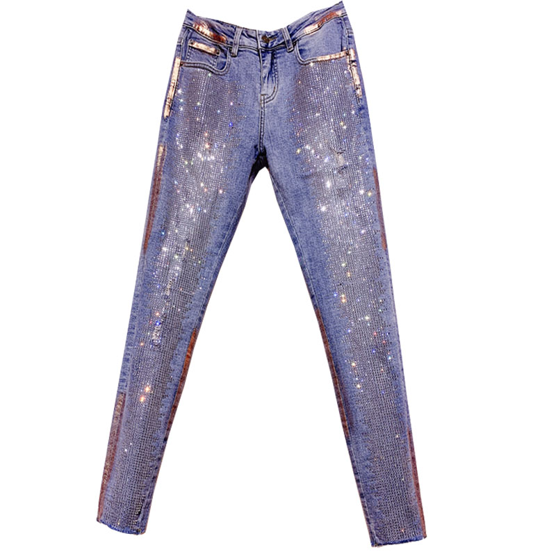 2019 AUTUMN FASHION Hot Drilling Small Feet Jeans WOMEN Rhinestone Hole High Waist Skinny Pencil Jeans
