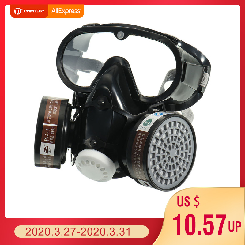 NEW Respirator Gas Mask Safety Chemical Anti-Dust Filter Military Eye Goggle Set Workplace Safety Protection