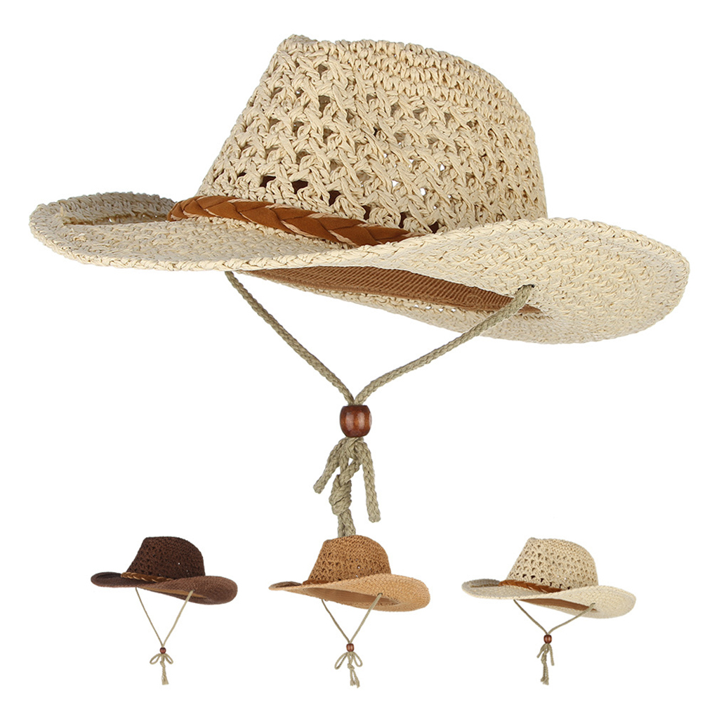 Kids & Adults Western Style Cowboy/Cowgirl Straw Hat With Chin Strap