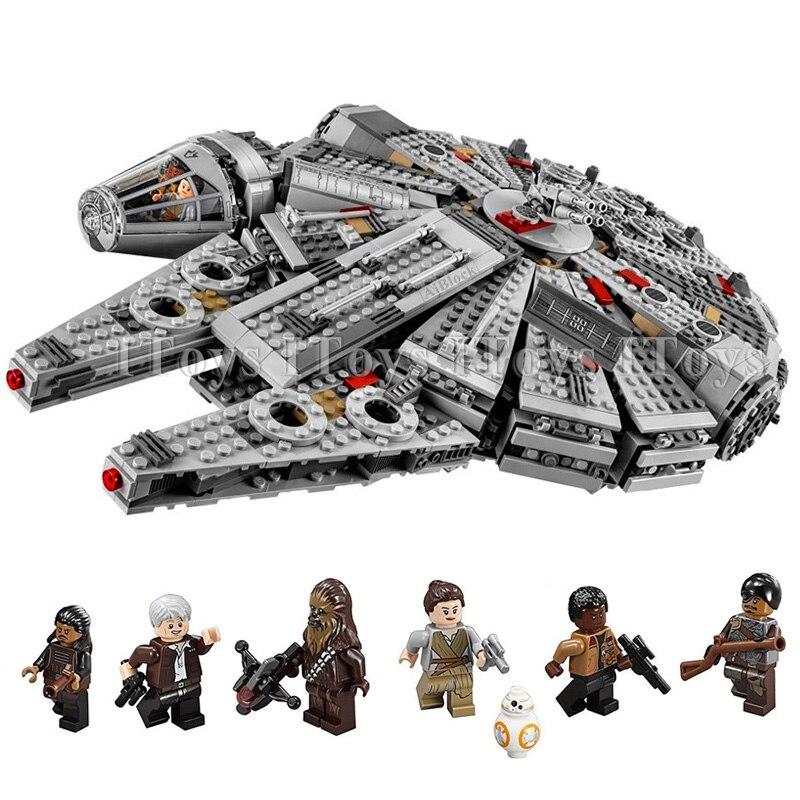 In stock 1381 Pcs Compatible Legoinglys Star Wars Millennium 05007 Falcon Spacecraft Building Blocks Birthday Gift Toys 1