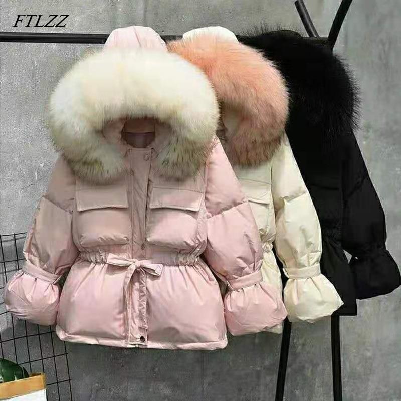 FTLZZ Large Natural Raccoon Fur Winter Jacket Women 90% White Duck Down Coats Thick Warm Sash Tie Up Short Parkas  Snow Coat