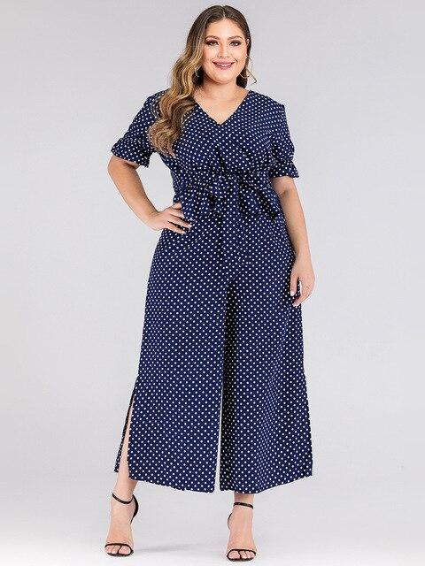2020 summer plus size jumpsuit for women large short sleeve loose casual dot V neck long jumpsuits belt blue 3XL 4XL 5XL 6XL 7XL 2