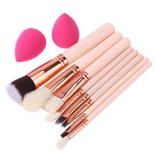 New 8pcs Cosmetic Pen Rose Gold Makeup Brushes+2pcs Sponge Puff Powder Blush Fondation Tool