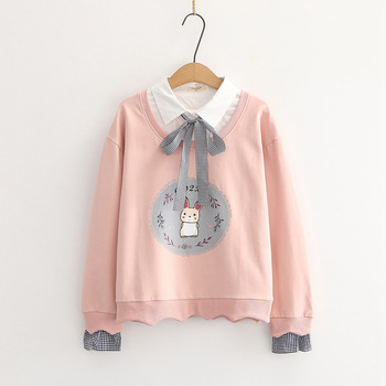 Fall 2020 new Japanese college style childlike cute rabbit print lace fake two long-sleeved