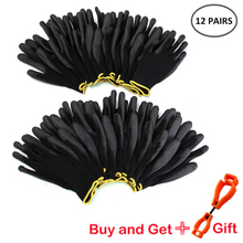 12-24 pairs of male and female nylon gloves PU best work protective gloves black nylon safety machinery work gloves