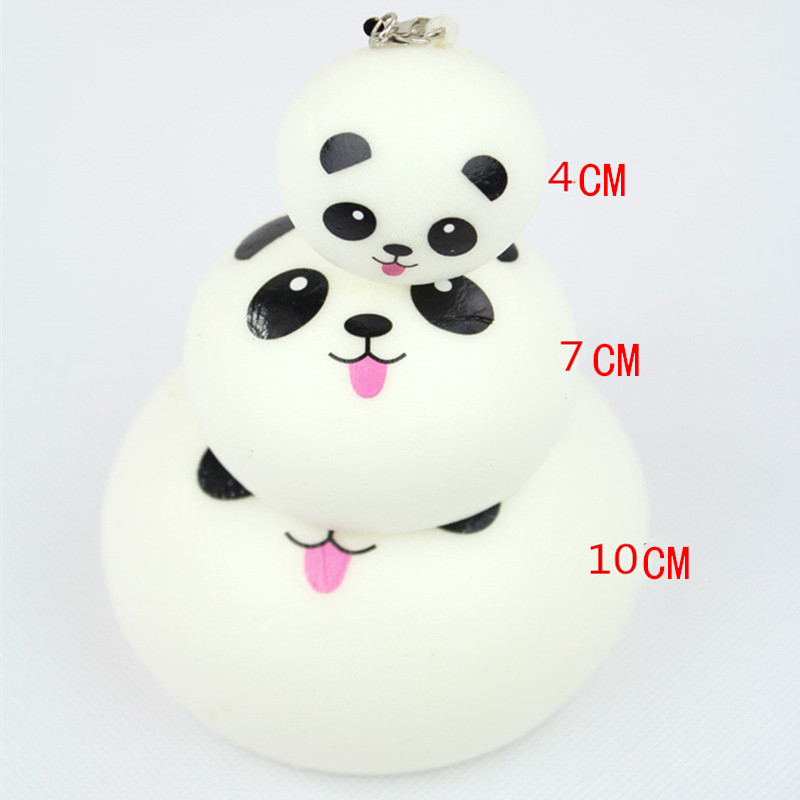 Lovely Squish Springback Panda Toys Funny Anti Stress Ball Expression Toy Simulation Toys Key Buckle Hanging Ornament