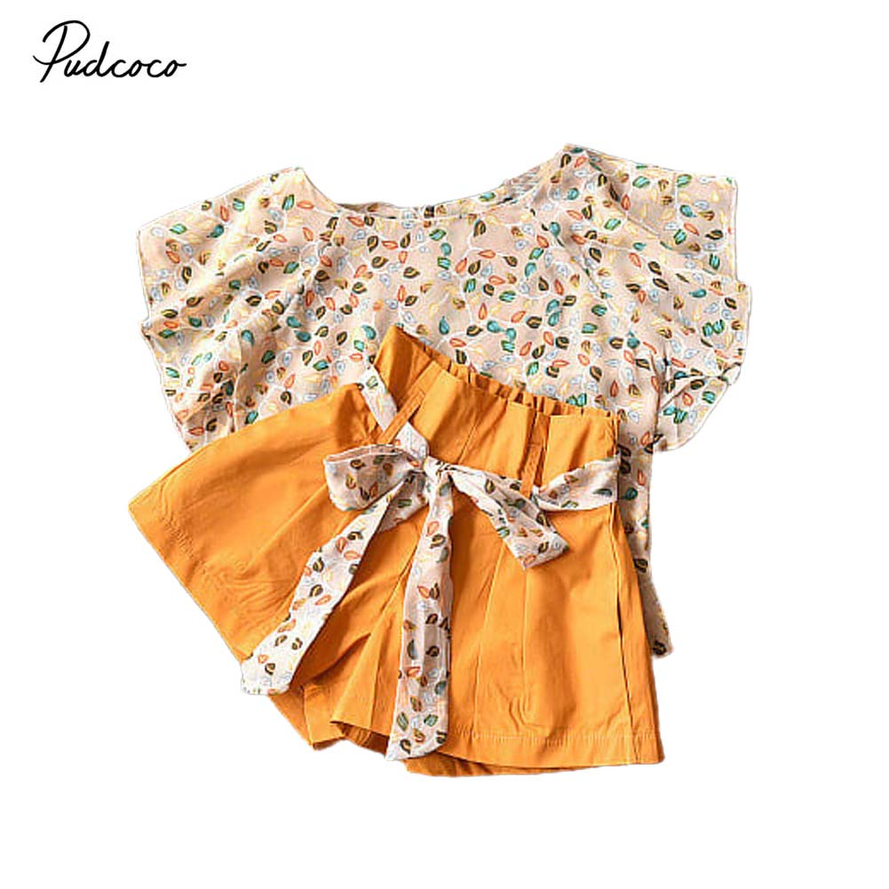 shorts pants baby outfits. 2Pcs//set kids girls summer chiffon tops