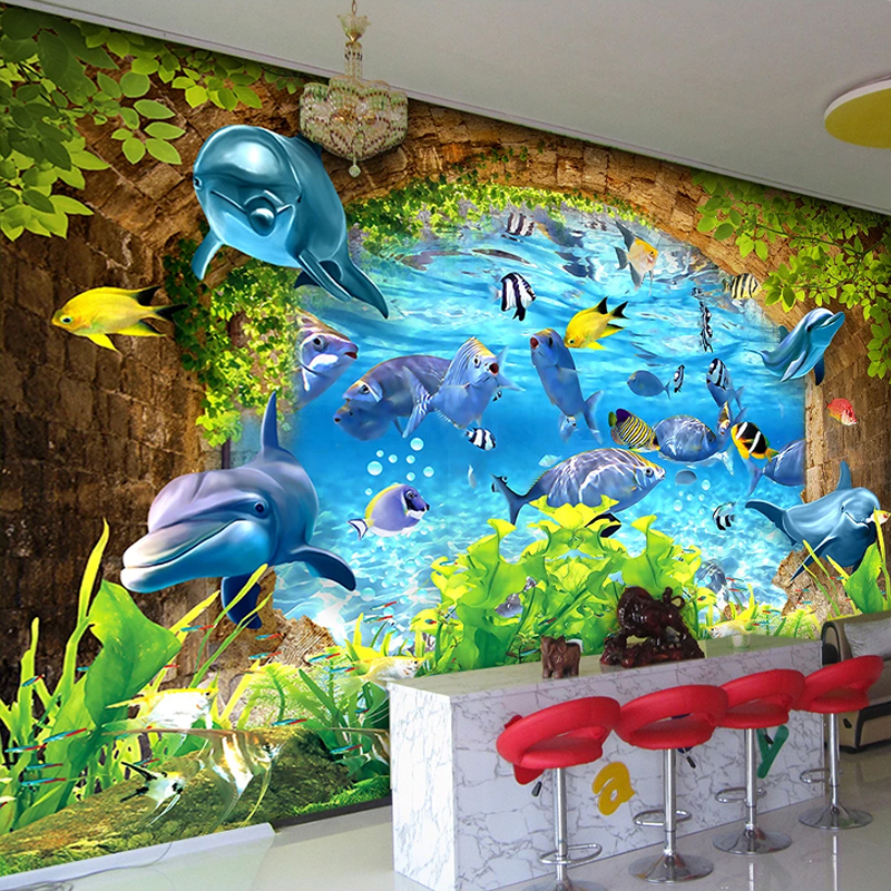 Underwater World Ocean Dolphin Fish Custom 3D Photo Wallpaper For Kids Room Bedroom Walls Kindergarten Cartoon Decoration Mural