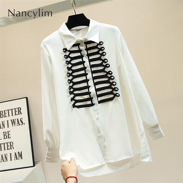 Automne irrégulière longue chemise femmes nouveau blanc chemise rétro palais bouton lanterne manches Blouse Blusas montre de sport Nancylim 2019