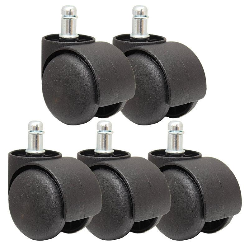 50mm Office Chair Roller Castor Wheels   Set of 5   Black Casters     - title=