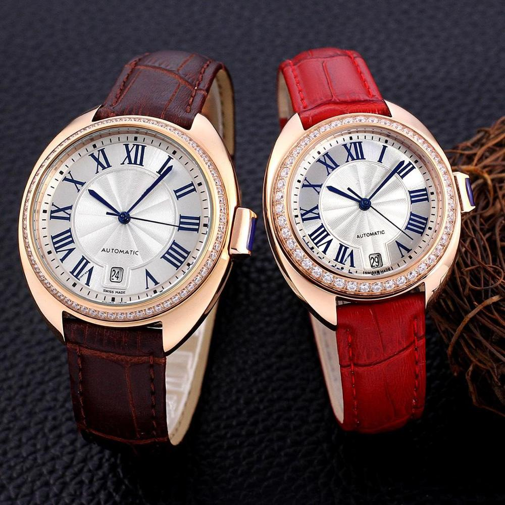 Men Watches Couple Watch Pocket Real Leather Couple Watch Baby Pink Ladies Watches High Quality Couple Watches