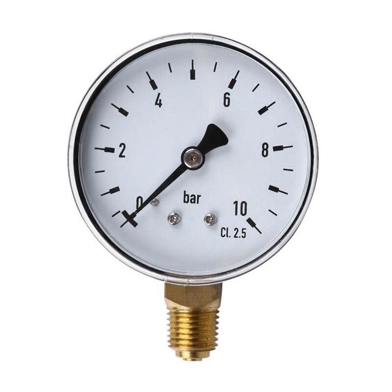 Pressure Gauge 60Mm Dial 0 10Bar Npt Thread Mount Pressure Gauge Fuel Air Oil Water Pressure Measuring Manometer 0 145 Psi|Pressure Gauges| |  - title=
