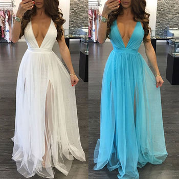 цена на Summer Sexy Women Solid V-neck Tulle Tutu Long Maxi Dress Sleeveless Backless Evening Party Beach Sundress White Blue