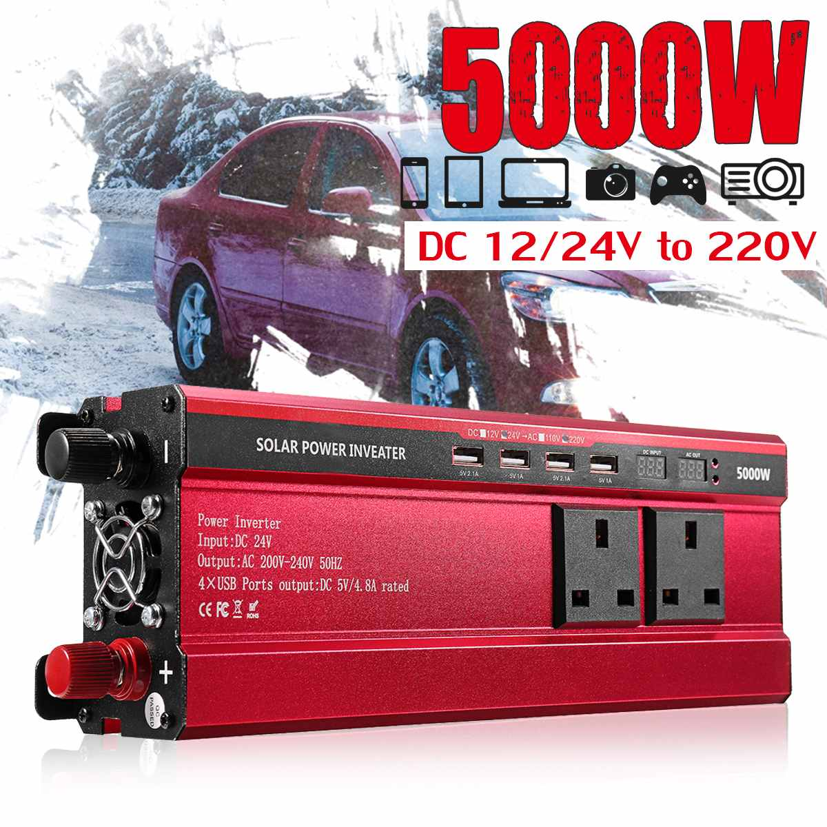 Autoleader 5000W الشمسية عاكس الطاقة DC 12 V/24 V إلى AC 110 V/220 V تعديل شرط موجة تحويل ل سيارة و شاحنة