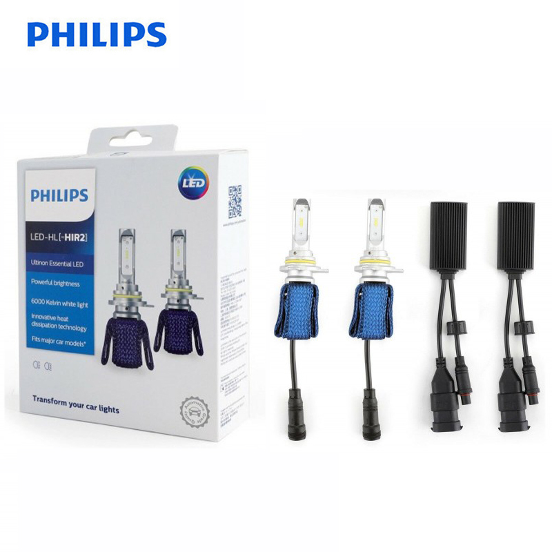 Philips LED H4 H7 H8 H11 H16 9005 9006 9012 HB3 HB4 H1R2 Ultinon Essential LED 6000K White Light Auto Headlight Fog Lamps 2X