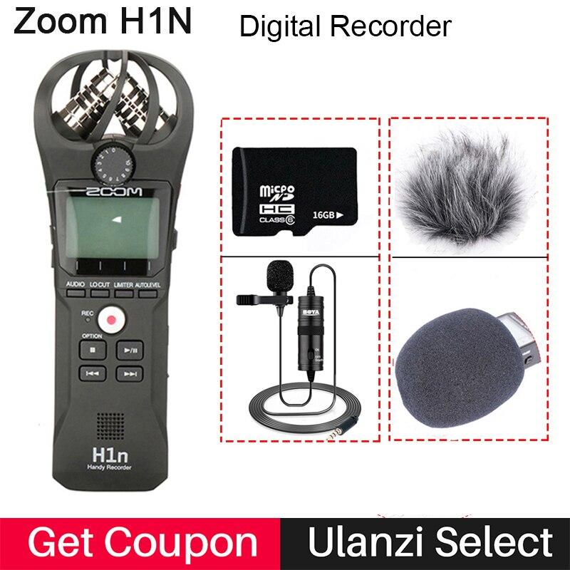 Zoom h1n handy gravador de câmera digital gravador de áudio entrevista gravação microfone estéreo para dslr boya BY-M1 microfone
