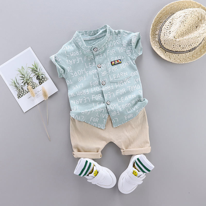 Boys Baby Summer Letter Shirt Clothing Set Print Short Sleeve Shirt + Pants For Infant Toddler Boy Clothes 1 2 3 4 Years