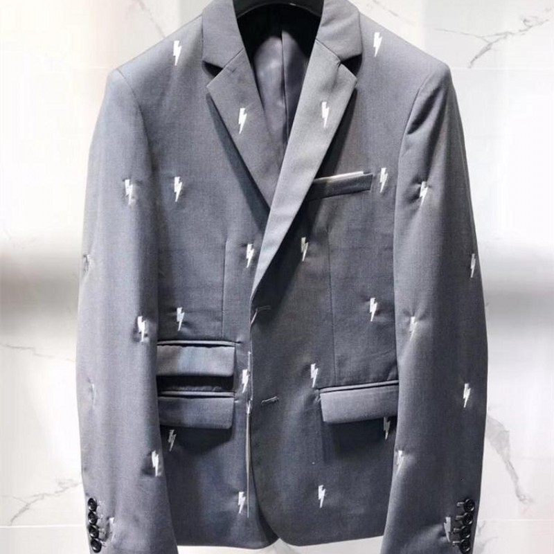 Brand Luxury Mens Lights Embroidery Designer 2020 New Blazer Suits Grey Business Work Outfits Suit Wear Slim Fit Wedding Suits