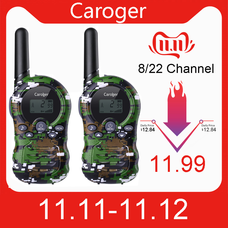Caroger 22/8 Channel 2pcs Walkie Talkies FRS/GMRS 462/467/446 MHZ Two Way Radio 2 Miles Range Handheld Interphone camouflage