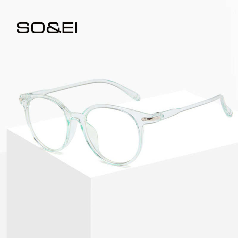 Men Women Round Clear Lens Glasses Jelly Color Transparent Frame UV400 Eyewear