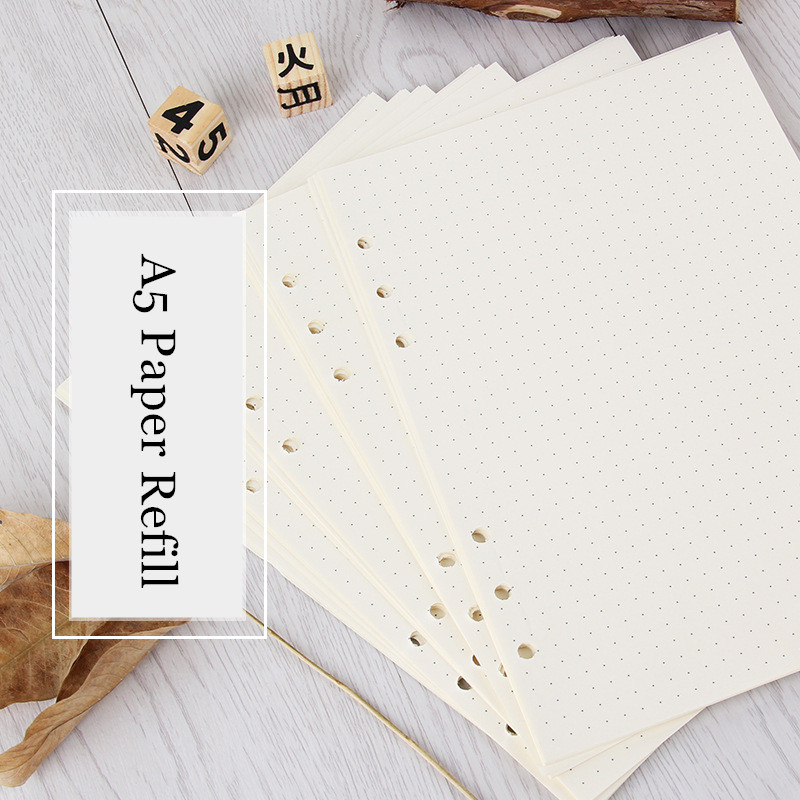 <font><b>A5</b></font> Loose Leaf <font><b>Notebook</b></font> Paper Refill <font><b>Spiral</b></font> Binder Inner Page 6 Holes 45 sheets Weekly Monthly Planner To Do List Line Dot Grid image