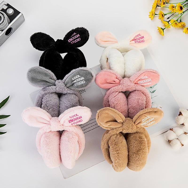 Fashion Girl's Fur Winter Ear Warmer Earmuffs Newest Nowknot Rabbit Ear Muffs Comfortable Foldable Letter Outdoor Headband Gift